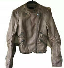 Blu Pepper women's brown faux leather bomber jacket zippered pockets Small