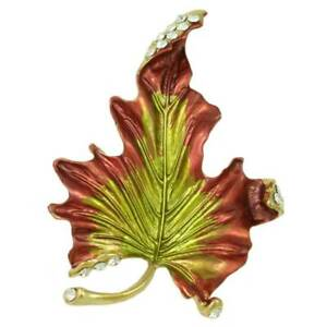 Burgundy and Green Enamel and Crystal Leaf Brooch Pin - PRL429A
