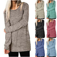 Women Long Sleeve Tunic Tops Casual Crew Neck T-Shirt Loose Fit Pullover Blouse