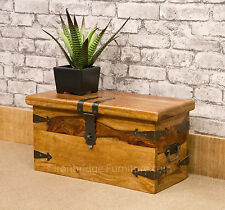 Solid Jali Sheesham Wood New Strap Chest Storage Lockable Trunk Box (Sz1) Ex Sml