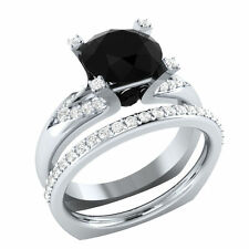 Certified 2.81ct Black Diamond 14k White Gold Engagement Bridal Ring set $$$