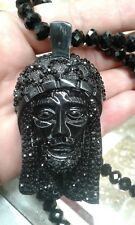 Black Glass Rosary Beads Crystal Jesus Hip Hop Iced Out Pendant Necklace Christ