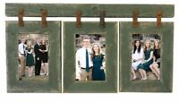 Wood Picture Frame 3 Set Collage Green Photo Barn Wall Display Hanging Rustic