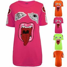 Womens Ladies Monster Lips Eyes Printed Baggy Oversized Casual Basic Tee T-Shirt