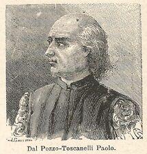 A6727 Dal Pozzo-Toscanelli Paolo - Stampa Antica del 1925 - Xilografia