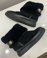 Tory Burch Black Winter Shearling Lined Ankle High Chelsea Boots  Size:4