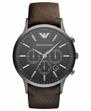 NEW EMPORIO ARMANI AR2462 MENS CHRONOGRAPH LEATHER STRAP WATCH