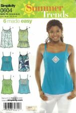 Misses Tops Strappy Tie Gathered Summer Simplicity 0604 Sizes 12-20 6 Variations