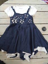 Robe bleu marine et blanche + t-shirt blanc à fleurs U COLLECTION Taille 5 ans
