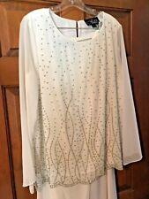 Alex Evenings White Embellished Pant Set