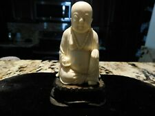 Vintage hand carved miniature Buddha,Stand is wood circa 1900's
