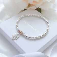 Sterling Silver Sunstone Hand Of Hamsa Bead Bracelet Crystal Stacking Jewellery