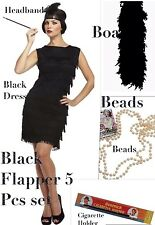 BLACK FLAPPER 1920S 5 Pcs FANCY DRESS SET CHARLESTON GATSBY PARTY ACCESSORY