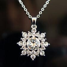 14k White Gold Plated Swarovski Crystals Snowflake Frozen Elsa Pendant Necklace