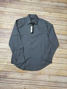 """Structure Men's Slim Fit Stretch Dress Shirt Dark Gray Size x-small  (13-13.5"""")"""