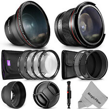58MM Starter Accessory Kit for Canon Nikon - Fisheye + Wide Angle Lens & Filters