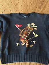Polo Ralph Lauren Womens Vintage Golf Bag Hand Knit Sweater size M