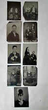 """9 Vintage TINTYPES,WOMEN & COUPLES, C.1860-1880, Approx.3 1/2"""" x 2 1/2"""""""