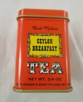 John Wagner Sons Tin Container Orange Ceylon Breakfast Tea 3/4 oz Empty
