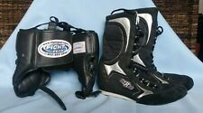 Boxing Gear - Ring Side Hi-Top Boxing Shoes (7) & Fight Gear Boxing Headgear (S)