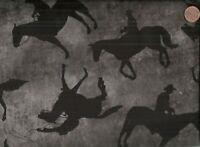 Best of the West gray black cowboys horses  Benartex western fabric