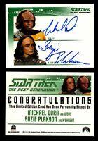 Star Trek TNG Quotable Dual Autograph Card Michael Dorn (Worf) & Suzie Plakson