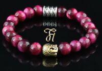 Tigerauge pink - goldfarbener Buddhakopf - Armband Bracelet Perlenarmband 8mm