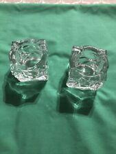 New ListingPartyLite Ice Block Cube Glass Candle Holders 2 Votive Tea Light