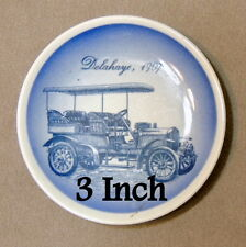 Wall Art Plate Porcelain Miniature Collector 1907 Delahaye Car Delft Blue 3""