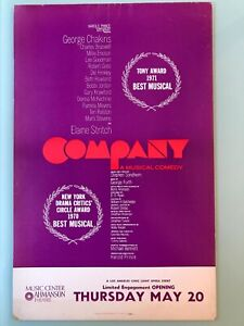 "1970's 'COMPANY' Ahmanson Theater Broadway Window Card Poster 14"" x 22"""