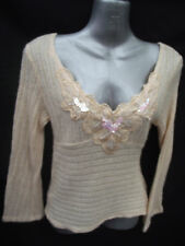 BNWOT Ladies Sz 12 MUAA Made In USA Sequin Sparkle Apricot Knit Long Sleeve Top