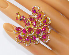 Pink Crystal Peacock Ring / Gold-tone w Stretch Linked  Band / NWT