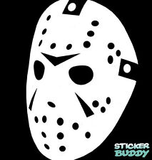"Jason Vinyl Decal Halloween Horror Window Sticker Mask Friday The 13th 6"" White"