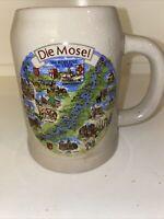 Vintage German Ceramic Stoneware .5L Beer Mug -Die Mosel