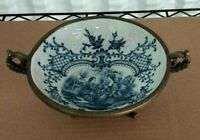"""Antique Continental Majolica and Bronze Candy Dish, 10"""" x 3"""" H."""