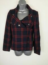 WOMENS H&M RED NAVY BLUE PEA COAT CHECKED WOOL SMART BLAZER STYLE JACKET UK 10