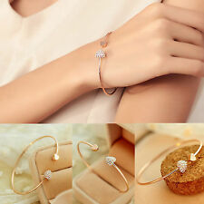 gold filled crystal heart charm Open bangle bracelet women's fashion jewelry