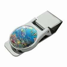 Ocean Coral Reef Angel Fish Garden Diving Satin Chrome Plated Metal Money Clip