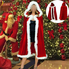 Christmas Cape Fancy Dress Adult Mrs Santa Claus Outfit Cloak Womens Ladies Miss