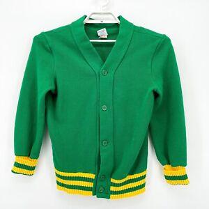 Vtg Men's 1960's 70's Green Yellow Knit Letterman Cardigan Sweater Sz M