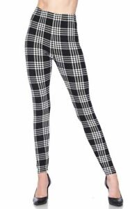 Buttery Soft Frosty Black and White Plaid Leggings