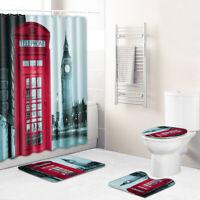 Big Ben Bathroom Rug Set Shower Curtain Bath Mat Non-Slip Toilet Lid Cover