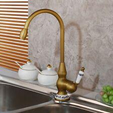 Kitchen Faucet Ceramic Single Handle Antique Brass Basin Swivel Spout Mixer Taps
