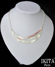 Lujo statement collar Ikita parís cadena esmaltes plateado faraón blanco rosa