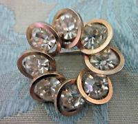 Vintage Gold Tone Metal Rhinestone Round Pin
