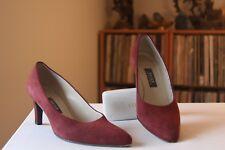 Bally Inova Burgundy Red Suede 2 1/2 Inch Heel Pumps UK 5E  Made In Switzerland