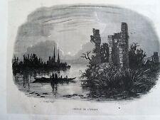 Bi1-6 Gravure 1845 chateaux historiques par Théodore Frère - chateau de l'évêque