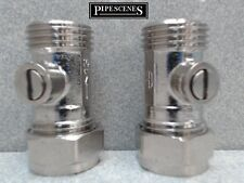"""2 x 15mm x 1/2"""" Isolamento Valvola di arresto con faccia piatta per rubinetto FLEXIS Service"""