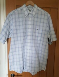 Mens Lacoste Shirt Size 45 2XL White Blue Checked