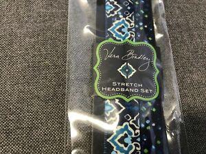 Vera Bradley Ink Blue Stretch Headband Set #13555-164 NEW